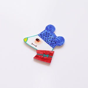 The Marvellous Blue Mouse Shrink Plastic Brooch or Magnet / Made to Order