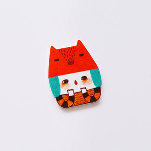 Miyuko The Cat Girl Shrink Plastic Brooch or Magnet / Made to Order