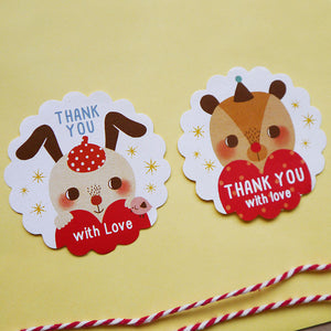 Rabbit and Bear Round Scalloped Edge & Round Thank You Sticker Set