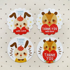 Rabbit and Bear Round Scalloped Edge & Round Thank You Sticker Set / Set of 160