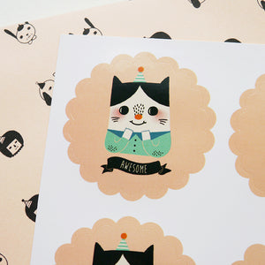 Awesome Cat Sticker Set