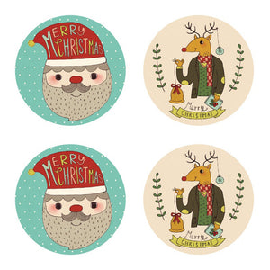 Santa Claus and Reindeer Christmas Sticker Set