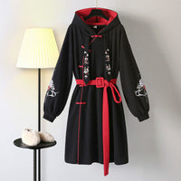 Chinese Style Hooded Stitching Vestido Tracksuits Embroidery Sweatshirt Dress Buckle Thick Harajuku Oversized Warm Long Pullover
