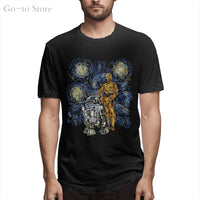 Starry Night R2 D2 C 3po Van Gogh Adult Men 's Graphic Tee Apparel T Shirt Hip Hop 100% Cotton R2D2 Print Short Sleeve O-neck