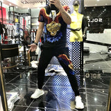Men 's Sports Casual Suit 2021 Spring and Summer New Ice Silk Korean Style Trendy Shipping T-Shirt Trousers Clothes