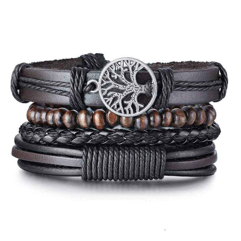 Men's Leather Tree of Life Bracelet