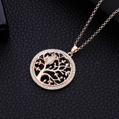 Owl Rose Gold Tree of Life pendant