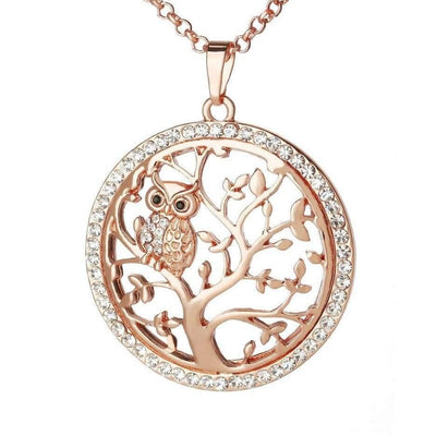 Owl Rose Gold Tree of Life Necklace
