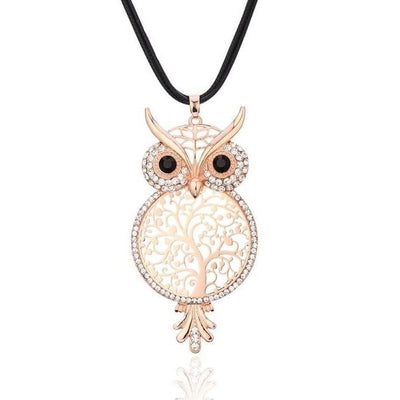 Rose Gold Owl Tree of Life Necklace