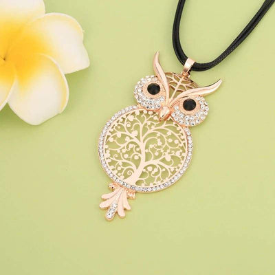 Rose Gold Owl Tree of Life pendant necklace