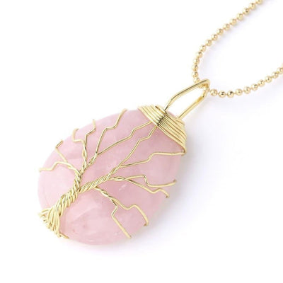 Rose Quartz Tree of Life Pendant Necklace