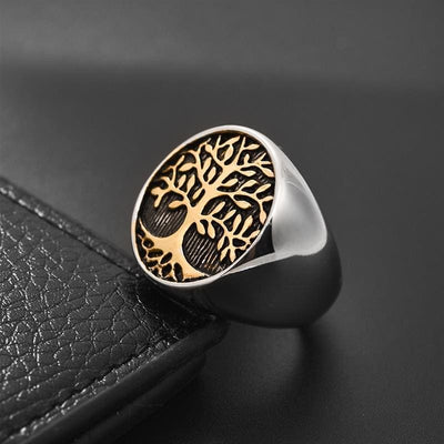 Gold and Silver Men's Tree of Life Ring