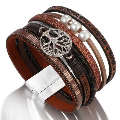 Brown Leather Tree of Life Wrap Bracelet