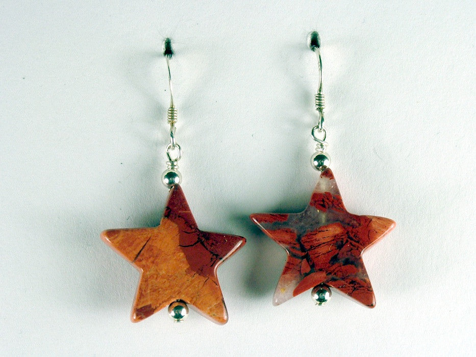 Sterling silver large Brecciated Jasper Star dangle earrings-brick red,astronomy