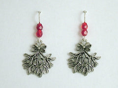 Pewter & Sterling Silver Mistletoe dangle Earrings-Christmas- holiday- kiss-