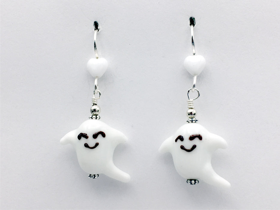 Sterling silver white glass ghost dangle earrings-Halloween, spirits, ghouls