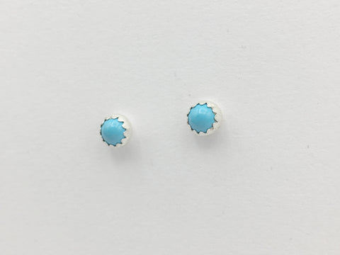 Sterling silver & Surgical steel small 4mm Turquoise stud earrings-studs