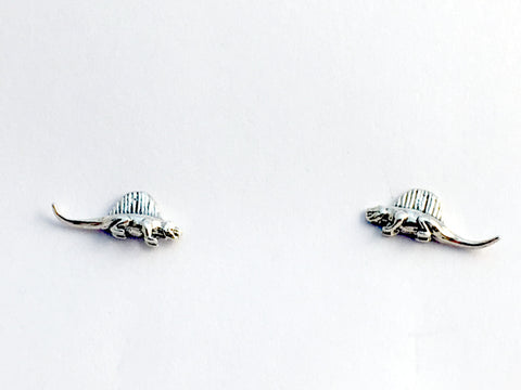 Sterling Silver and Surgical Steel dimetrodon stud earrings- dinosaur- fossil