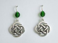 Pewter & Sterling Silver large Round Celtic Knot dangle Earrings- green glass