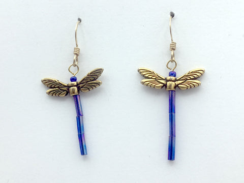 Gold tone Pewter & glass Dragonfly dangle earring-14kgf -dragonflies-iridescent