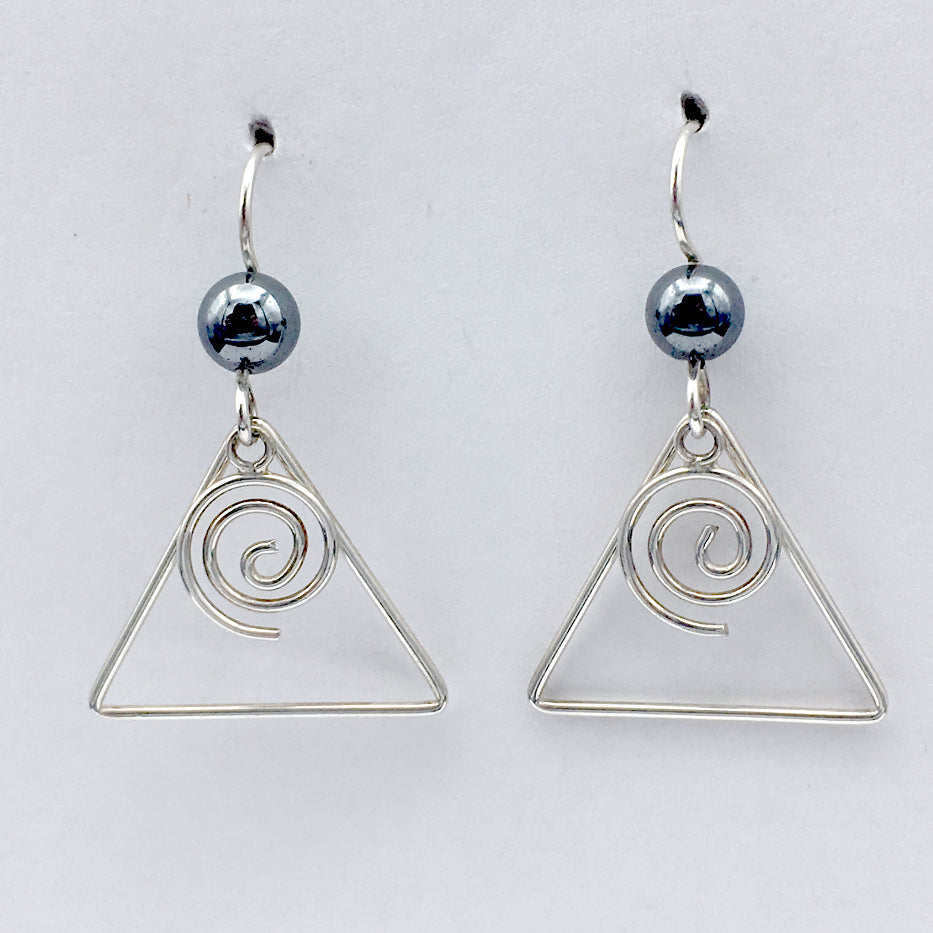 Sterling Silver medium open wire Spiral w/triangle Earrings-  hematite, spirals