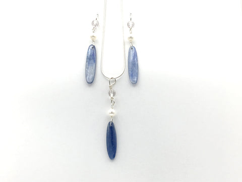 20 inch Sterling Silver snake chain with Kyanite, Freshwater Pearls, faceted Amethyst pendant and Earrings