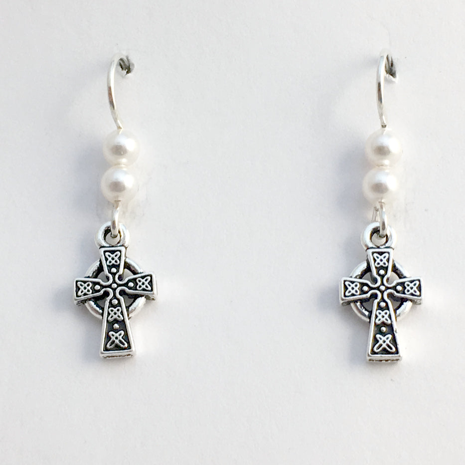 539ae4873 Pewter & Sterling silver small Celtic knot cross dangle earrings-glass
