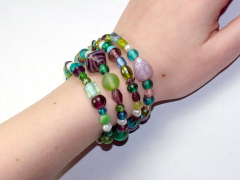 4 Strand Glass lampwork bead, freshwater pearls Memory Wire Bracelet, Blues, Greens, Purple