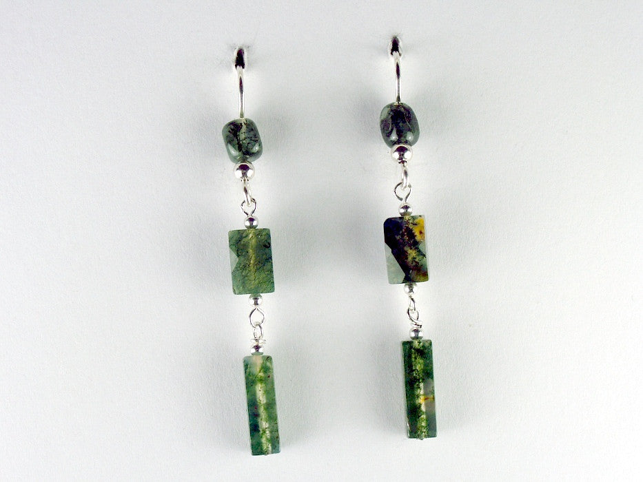 Sterling silver and Moss Agate beads dangle earrings- Elegant, 2 1/8 inches,