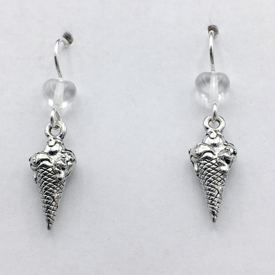 Pewter & Sterling Silver Ice Cream Cone dangle earrings- gelato, sorbet, dessert