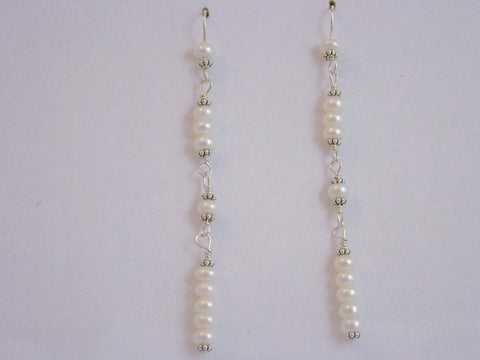 Sterling Silver and Freshwater Pearls Long Dangle earrings- 3 inches long- bridal