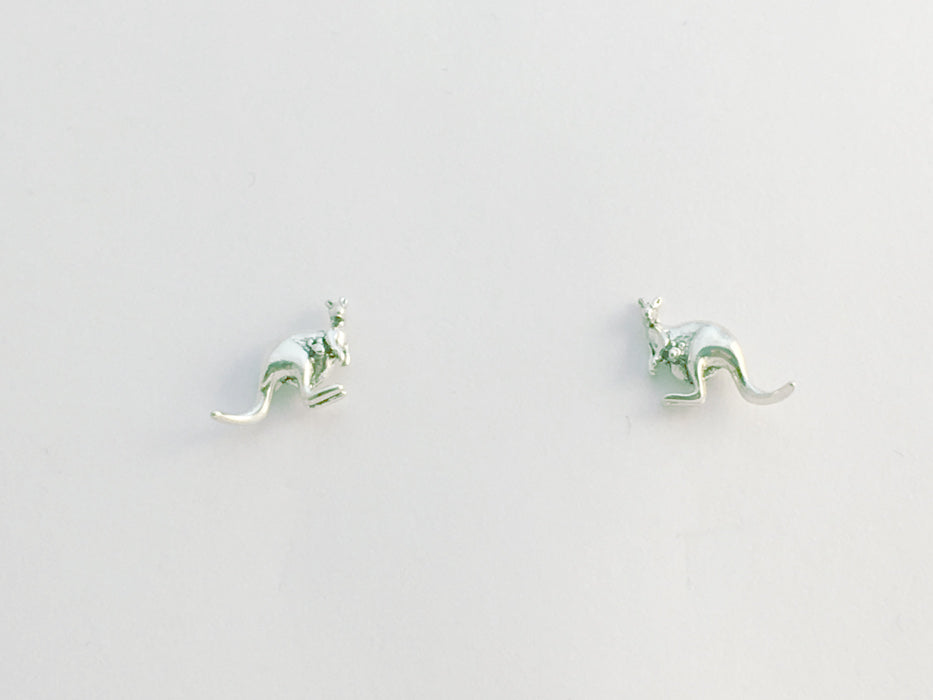 Sterling Silver & Surgical Steel small kangaroo stud earrings-Australia, kanga