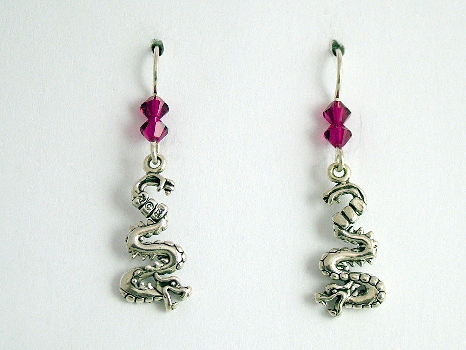 Sterling Silver curvy Dragon dangle earrings-Fantasy-dragons, crystal, 1 5/8""