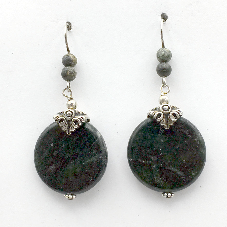 Pewter & Sterling Silver spiral bead cap dangle Earrings-Kambaba Jasper, spirals