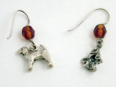 Sterling silver Dog & Fire Hydrant dangle Earrings-dogs,fire plug,canine,walker