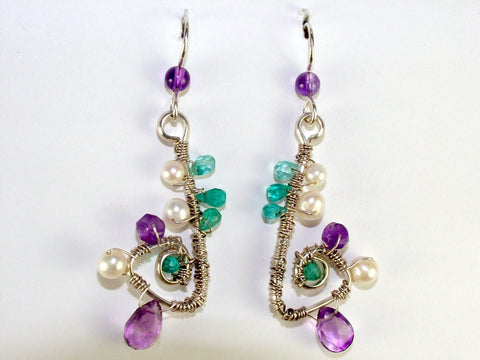 Sterling and Fine Silver Freeform dangle earrings with Apatite, Amethyst and Freshwater Pearls.