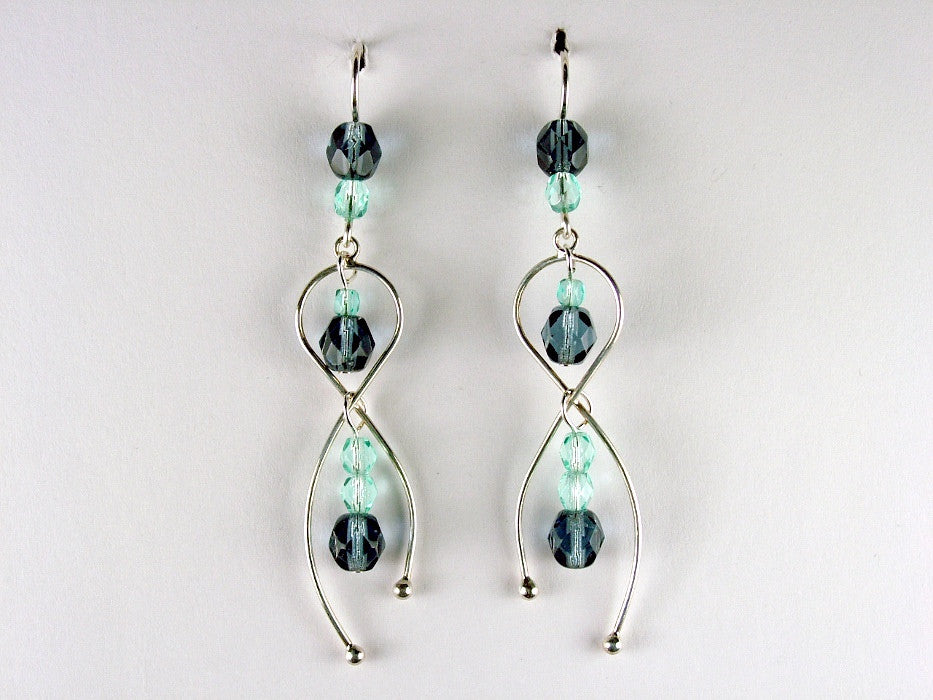 Sterling silver freeform dangle earrings with light aqua & denim blue faceted glass