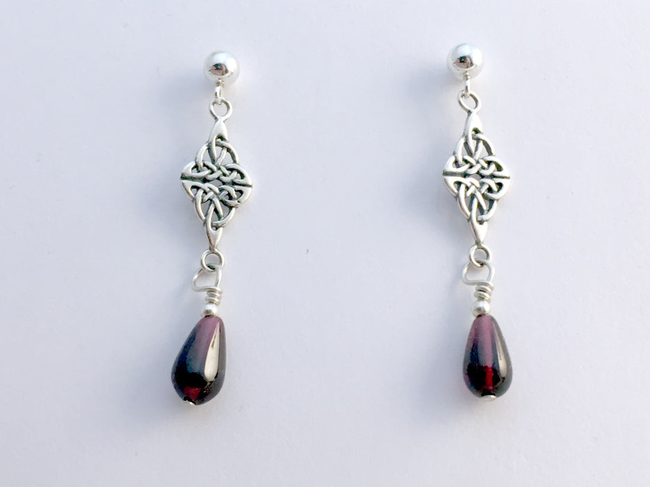 Sterling silver 4mm ball stud Celtic double knot  dangle earrings-garnet