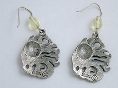 Pewter & Sterling Silver Sun & Wind dangle earrings-elements- celestial, solar