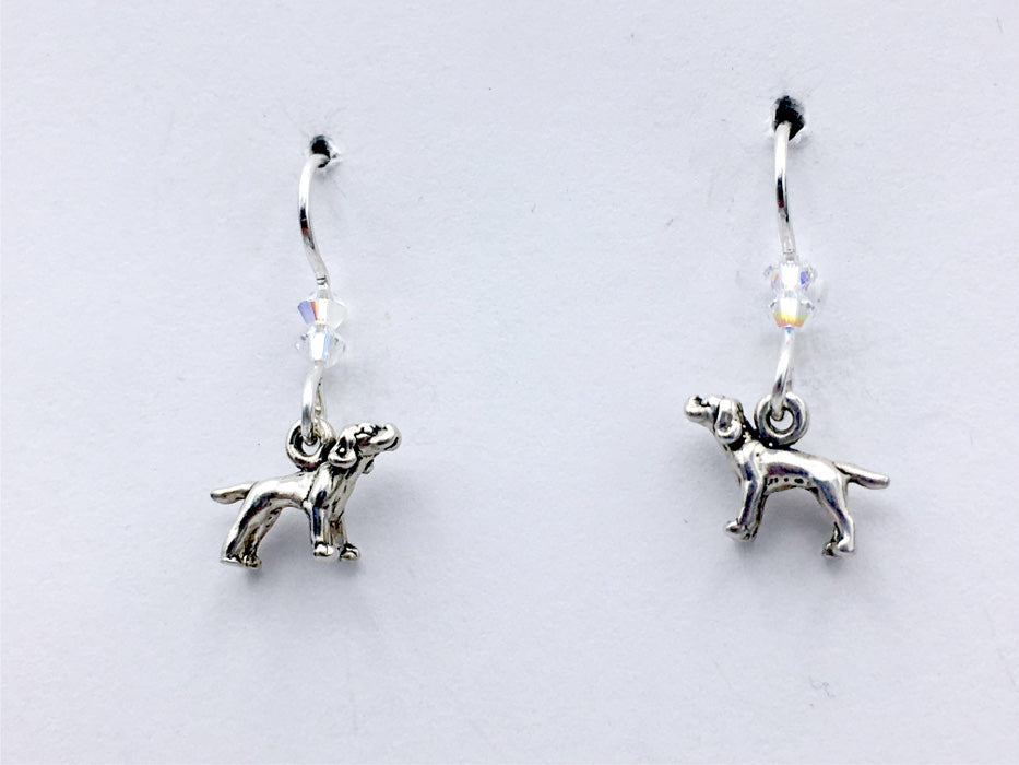 Sterling silver tiny  Pointer dog dangle Earrings-dogs-sweet- clear crystal