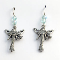 Pewter & sterling silver Fairy  with wand dangle earrings-fairies, fey, fairie