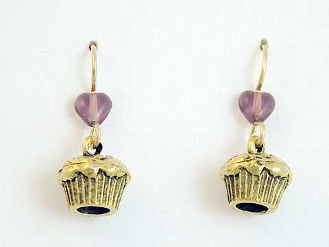 Gold tone Pewter & 14k gf muffin or cupcake dangle Earrings-baker,baking,muffins