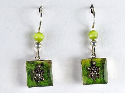 Sterling silver small  turtle shadowbox dangle earrings-tortoise, turtles,