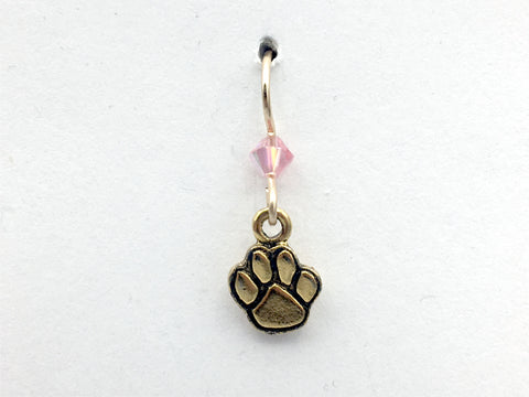 Goldtone Pewter & 14k GF paw print dangle earring