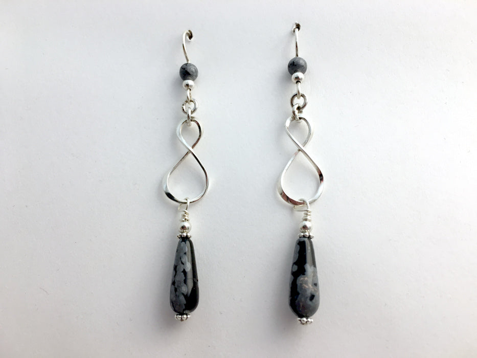 Sterling Silver Infinity symbol with snowflake obsidian dangle Earrings- knot