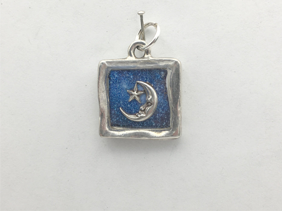 Pewter with night sky print & sterling silver crescent moon pendant-resin, star