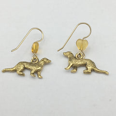 Gold tone Pewter & 14k GF ferret dangle earrings- polecat, weasel, ferrets,glass