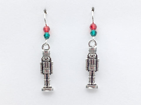 Pewter & Sterling Silver Nutcracker dangle Earrings-Christmas- holiday, ballet