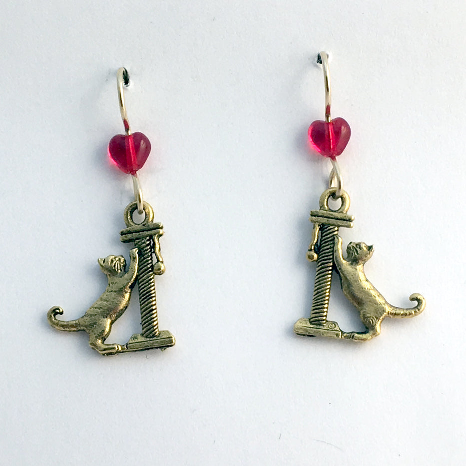 Gold tone Pewter & 14k gf Cat w/ scratching post dangle earrings-cats, feline,