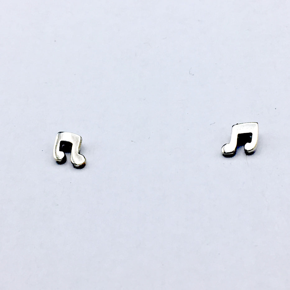 Sterling Silver Musical note stud earrings-music, notes, musician, choir, singer